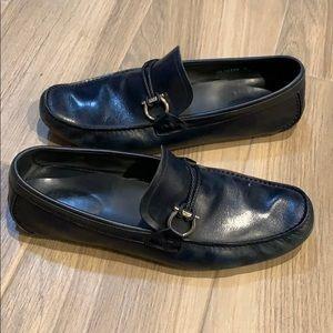 Navy Ferragamo Loafers